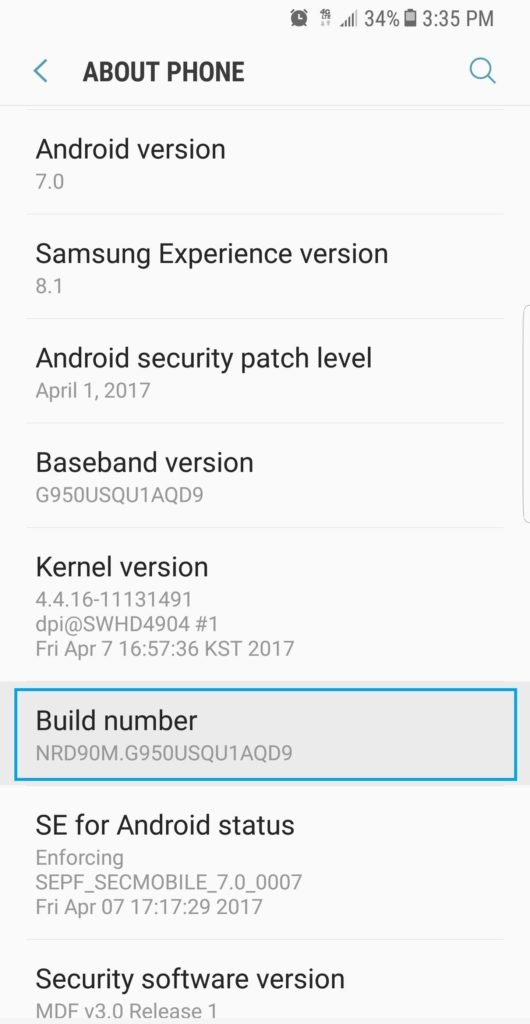how to find your number on samsung s8