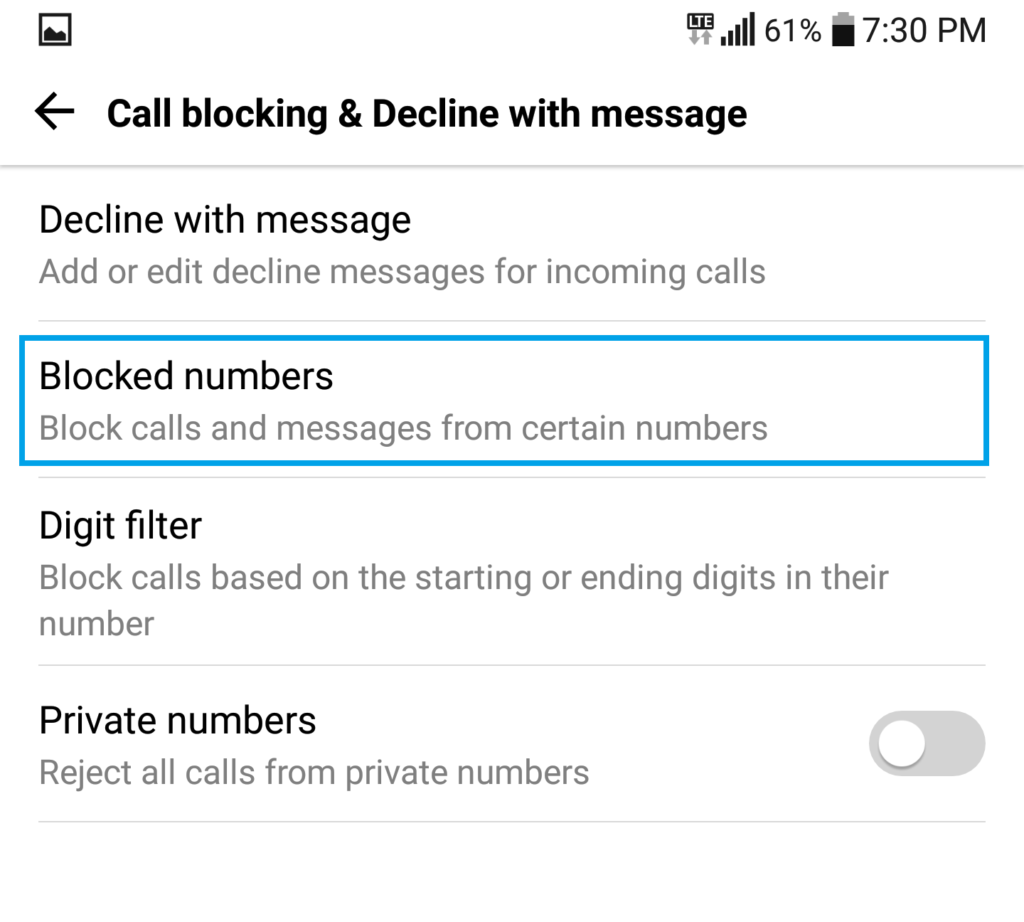 How to block calls on the lg v30 thecellguide tap on blocked numbers alternatively turn on private numbers to block unknown or hidden callers ccuart Gallery