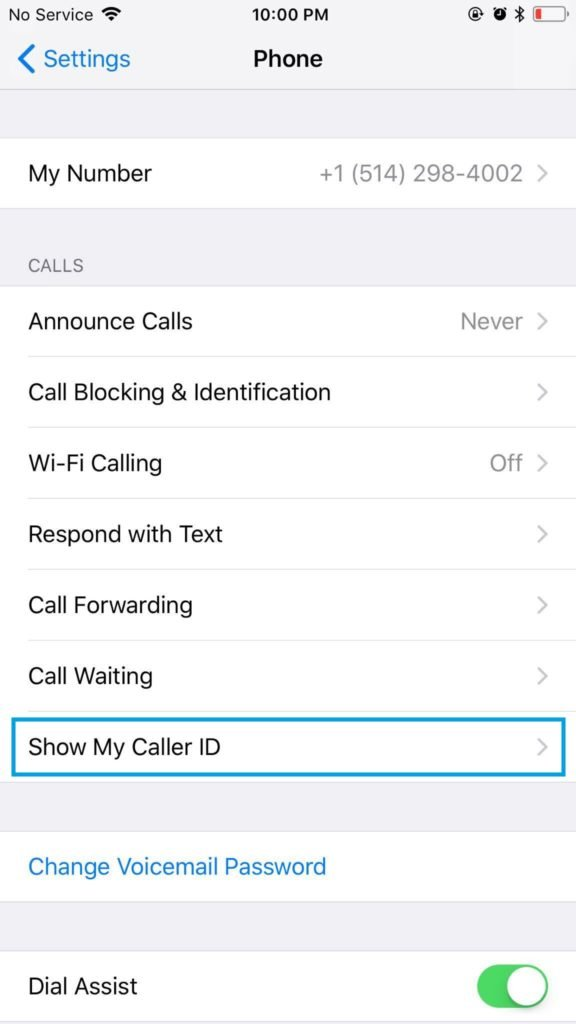 Cell phone block - block caller id from cell phone