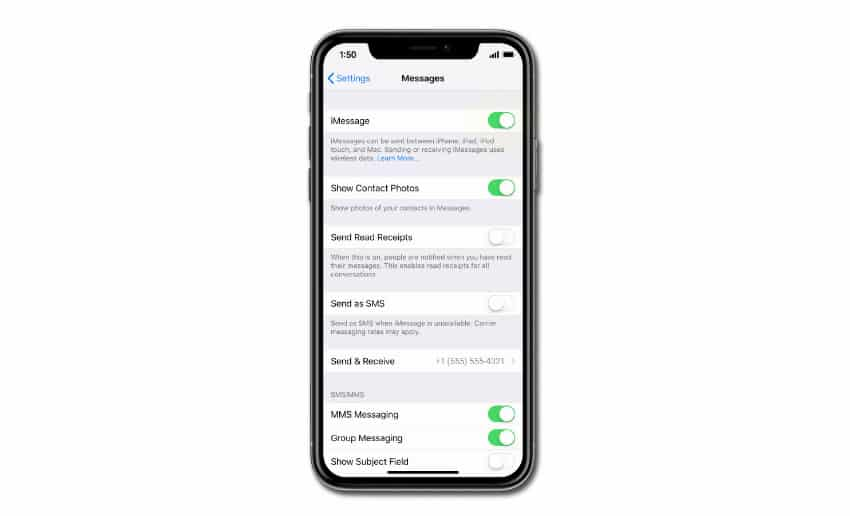 How to Fix an iPhone XR iMessage that's not working