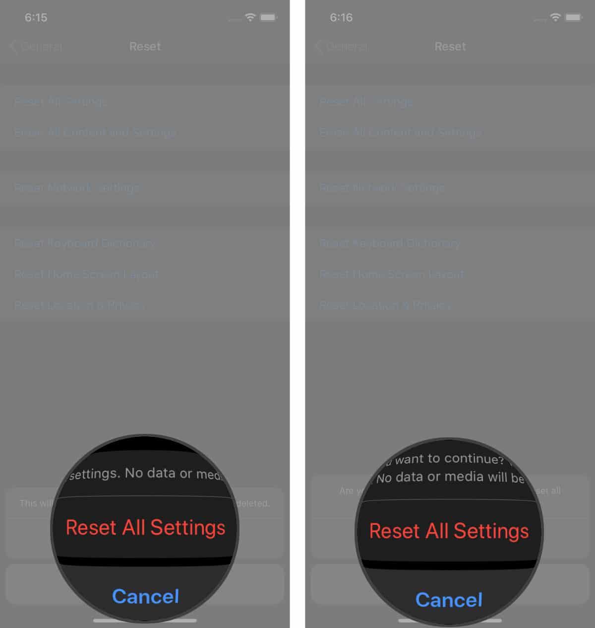 reset iphone settings reset all settings