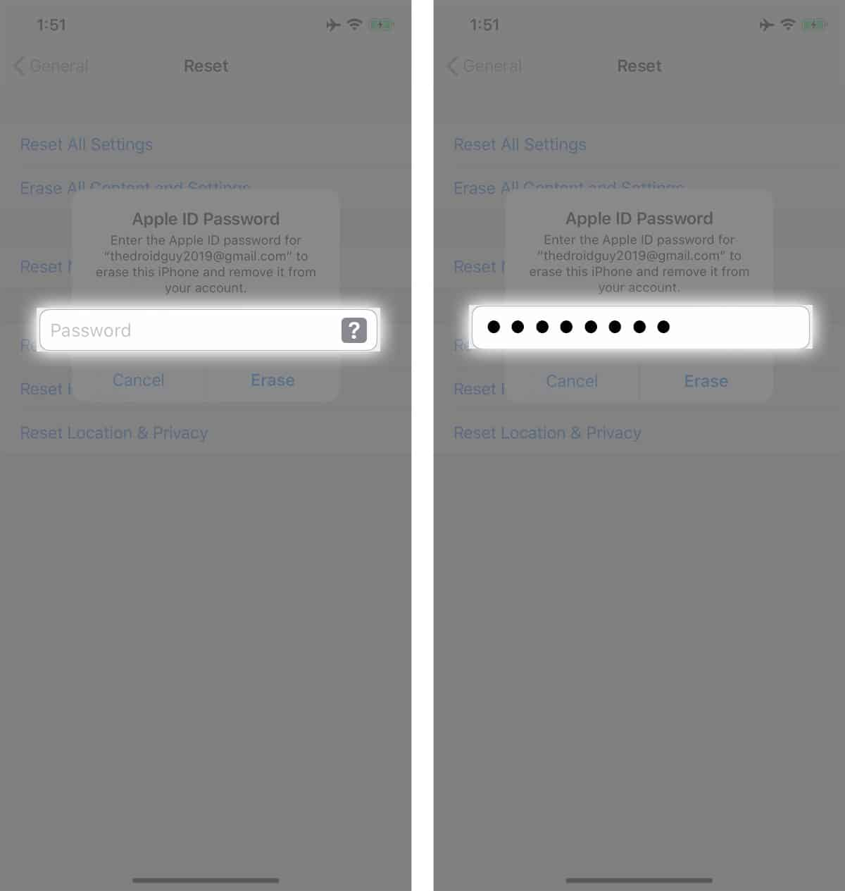 factory reset an iphone password