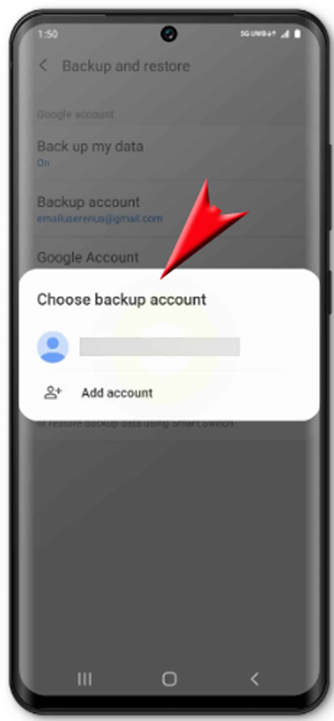 back up and restore galaxy s20 - select account to backup