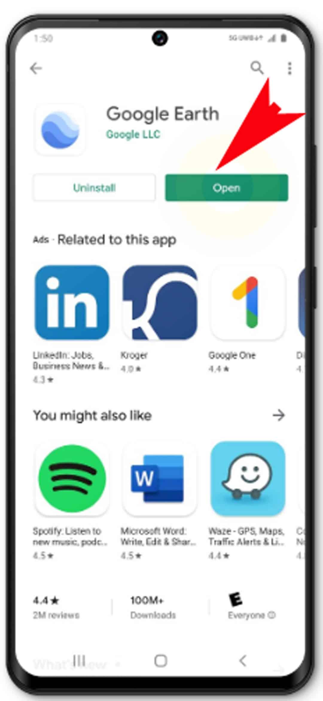 download app or widget galaxy s20 - tap Open app