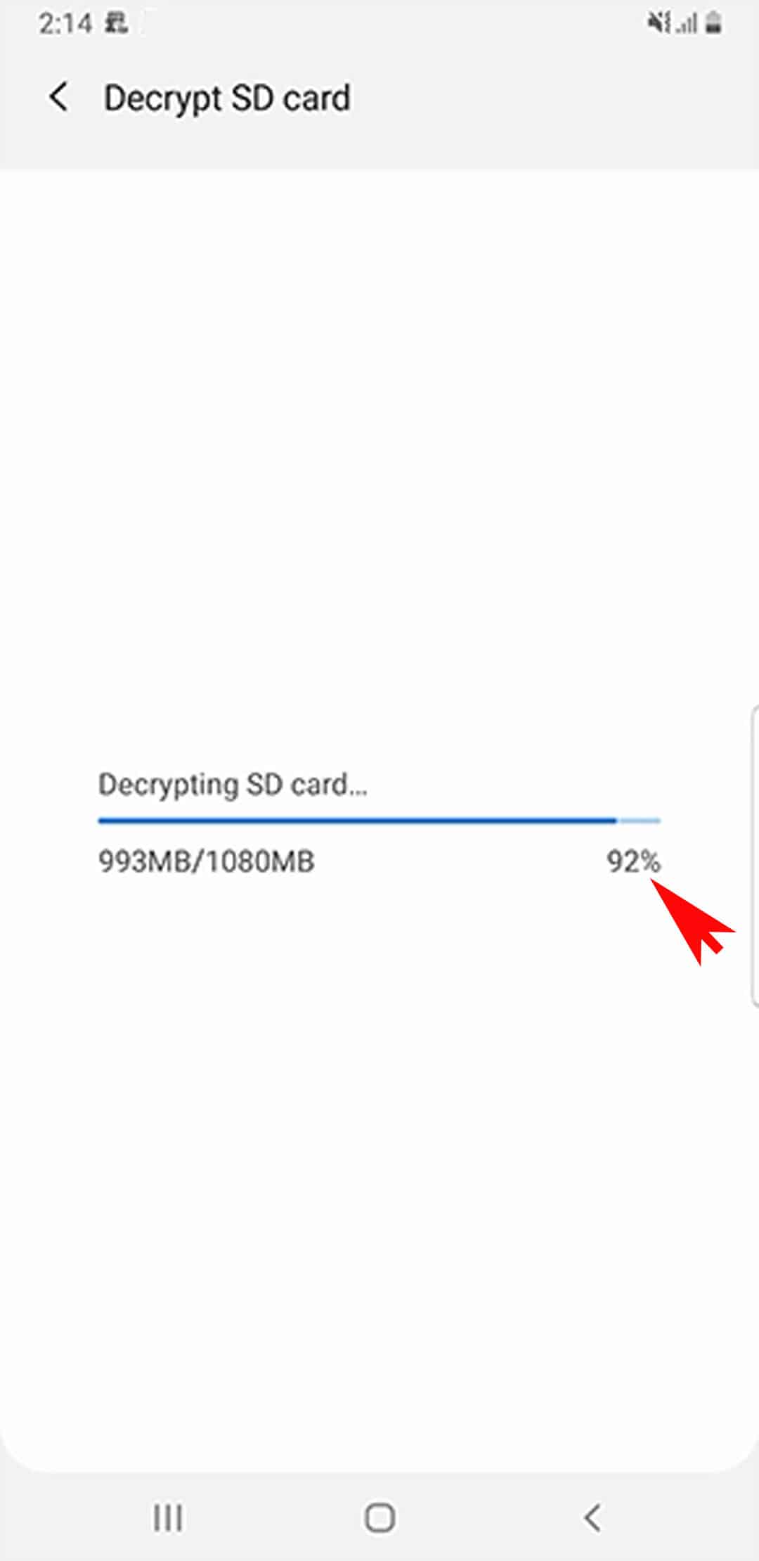 encrypt decrypt sd card galaxy s20 - decrypt sd card progress bar