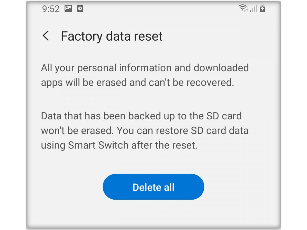 factory reset galaxy a20 thumb