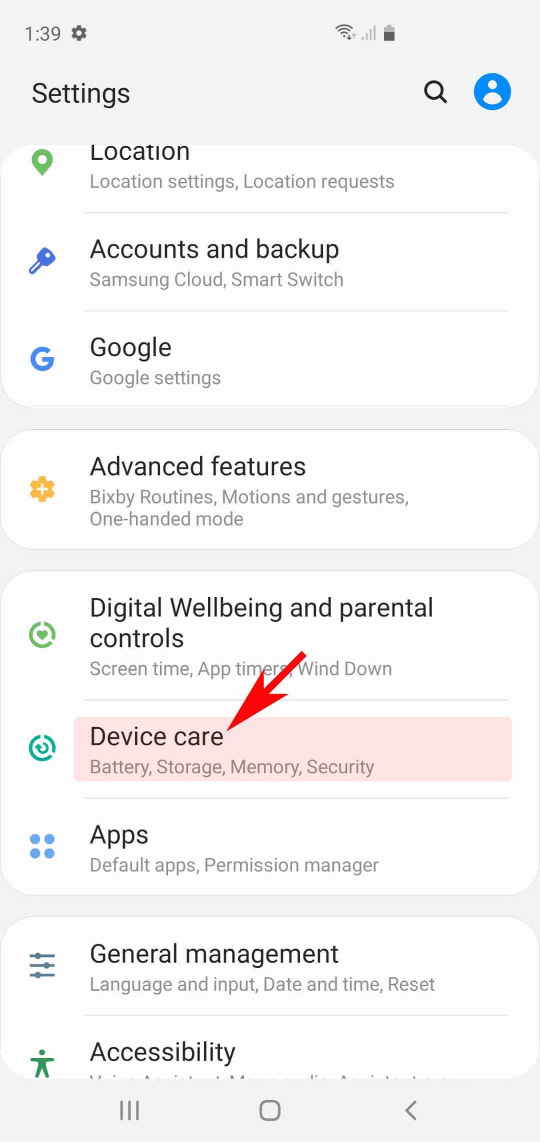 galaxy s20 power saving mode -device care menu