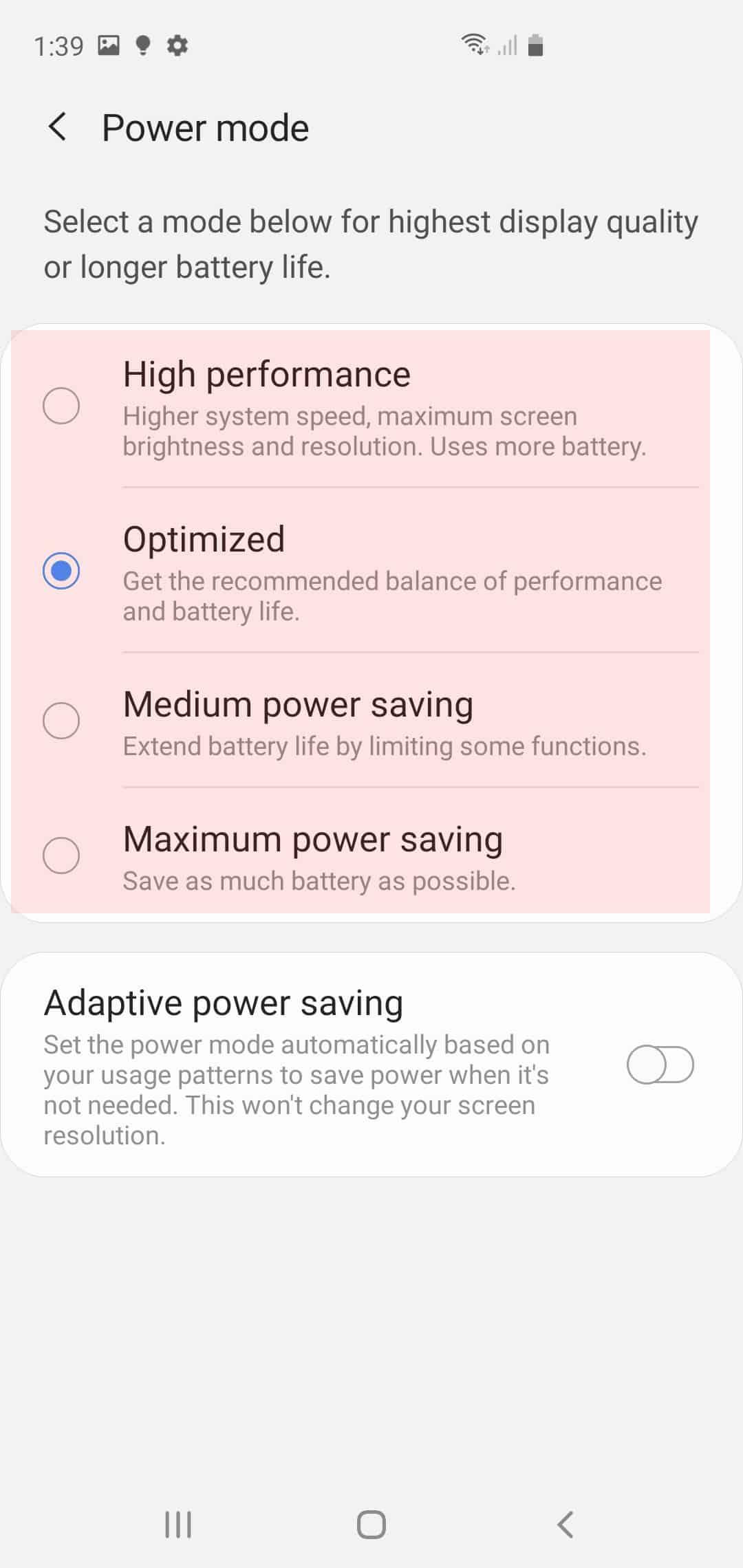 galaxy s20 power saving mode - power saving options