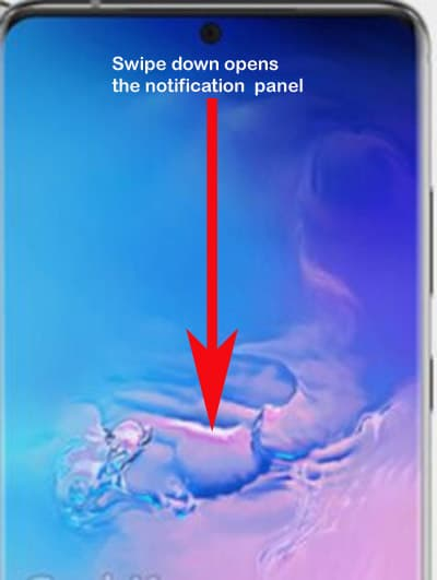 galaxy s20 reset accessibility settings - swipe down to open notification panel