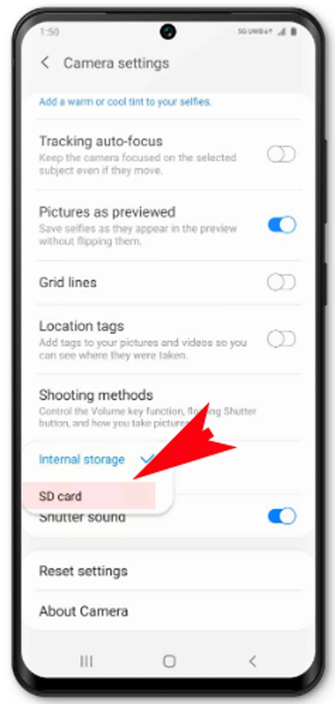 how to change picture storage on Galaxy S20 - change or set new storage location