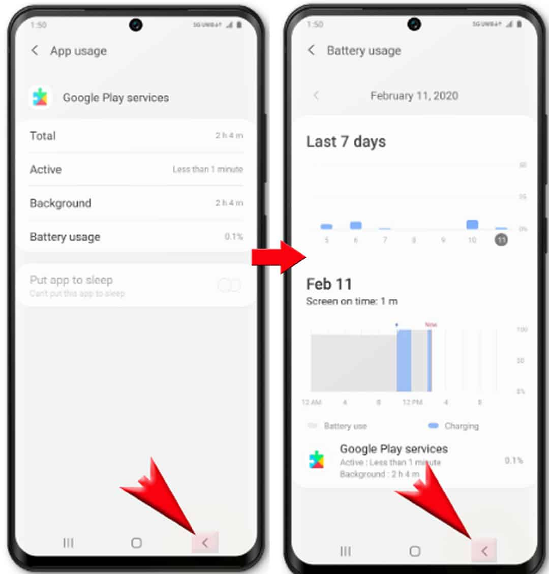 how to manage galaxy s20 battery - tap Back icon twice