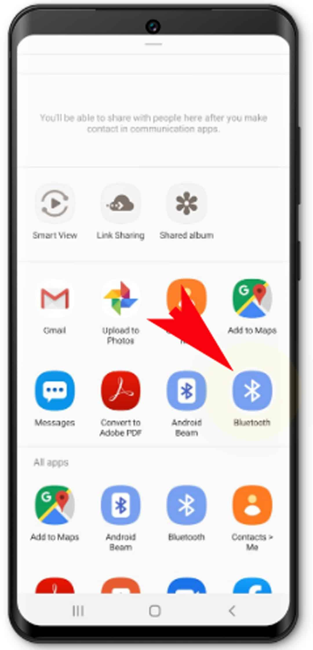 how to share photos from Galaxy S20 - tap Bluetooth file sharing