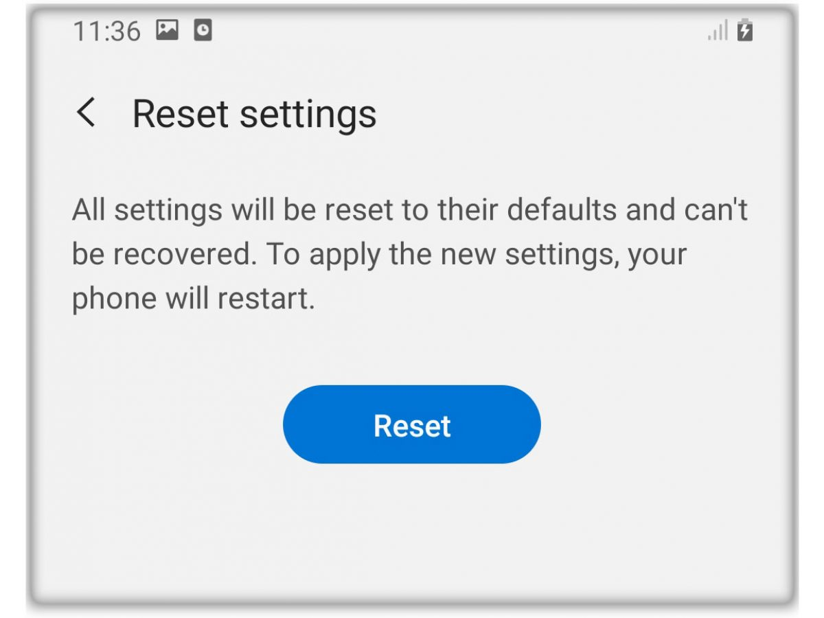 reset all settings galaxy a20