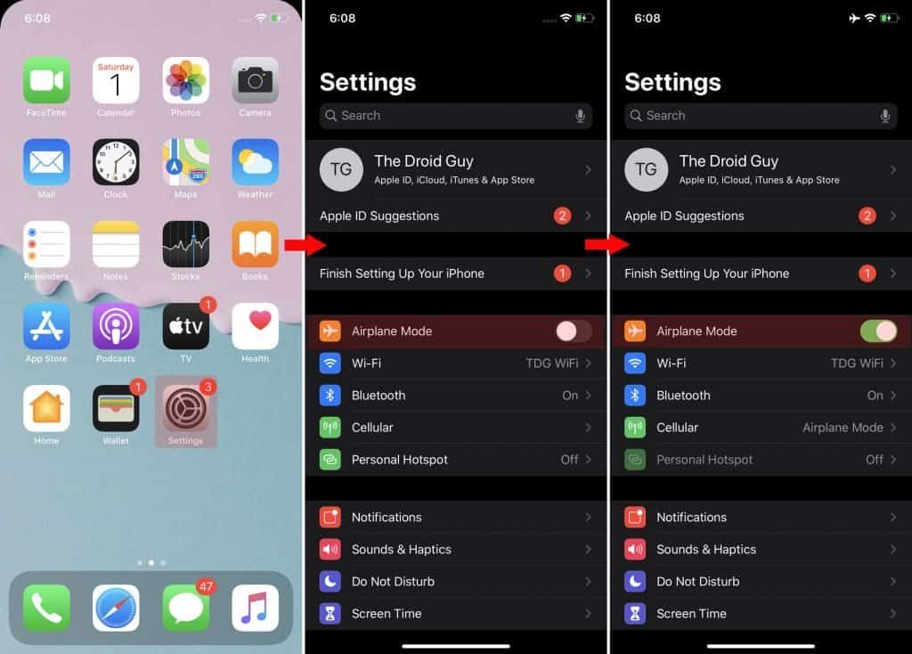 enable-disable-airplane-mode-iphone-ios-13-fix-imessage-problems