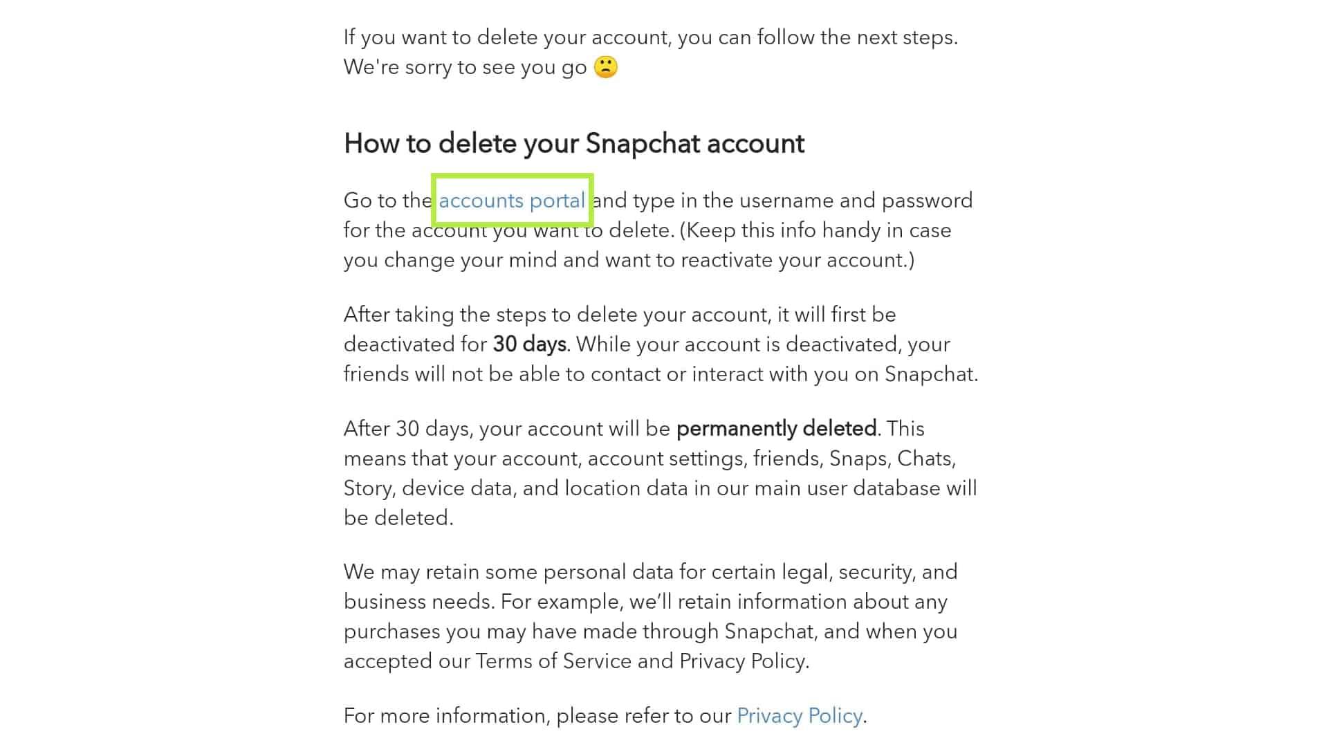 delete snapchat accounts portal