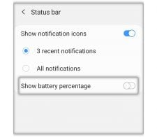 enable battery percentage on galaxy a50
