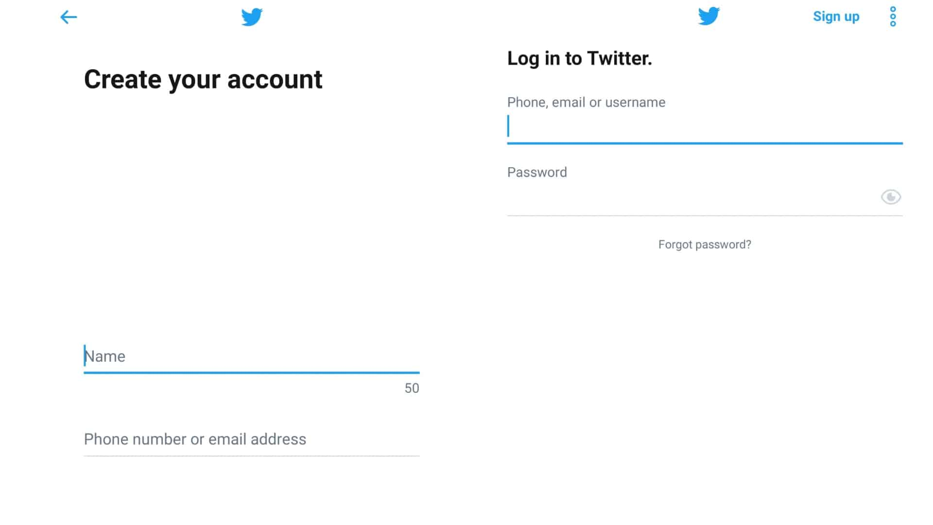 how to use twitter create account