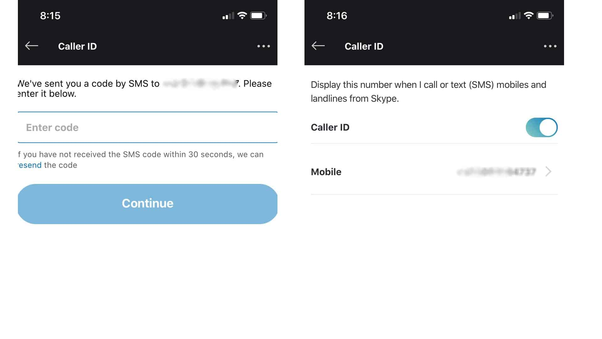 skype caller id activated