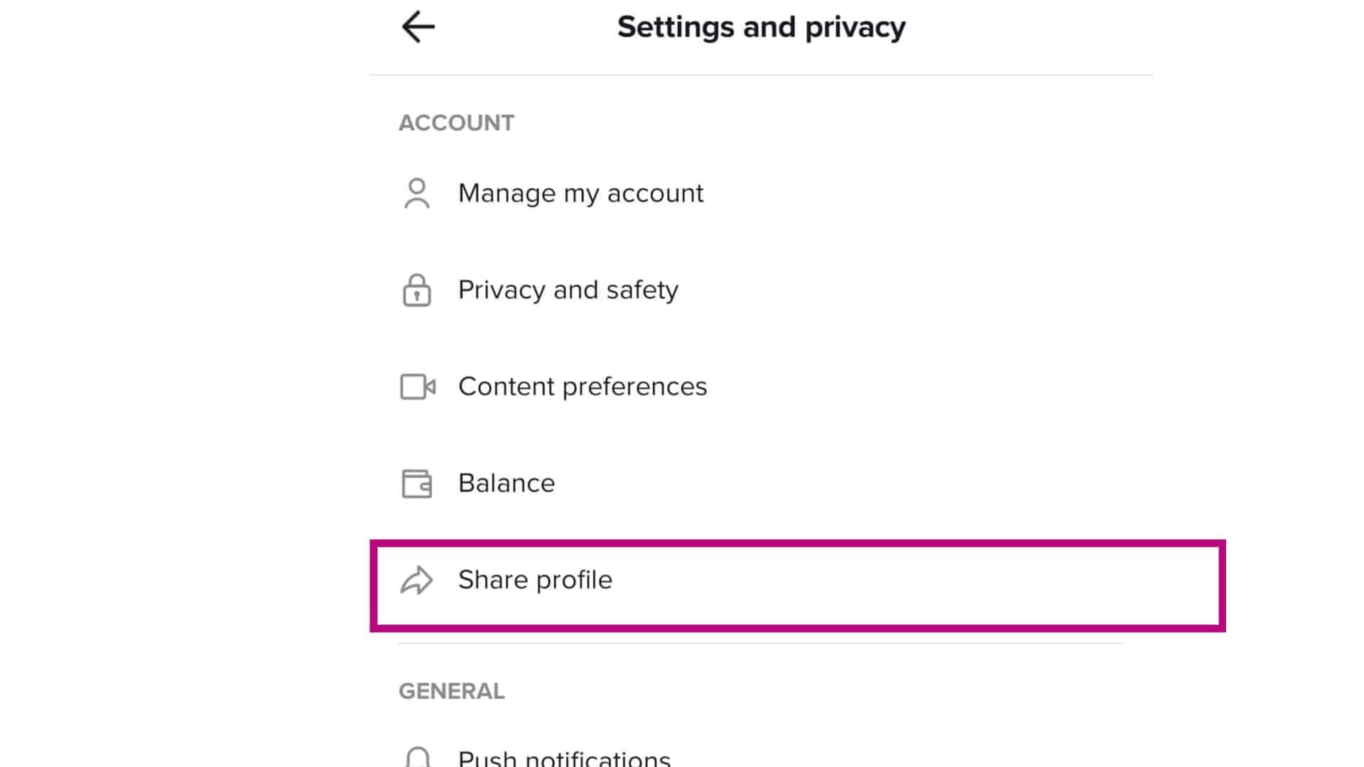 tiktok share profile