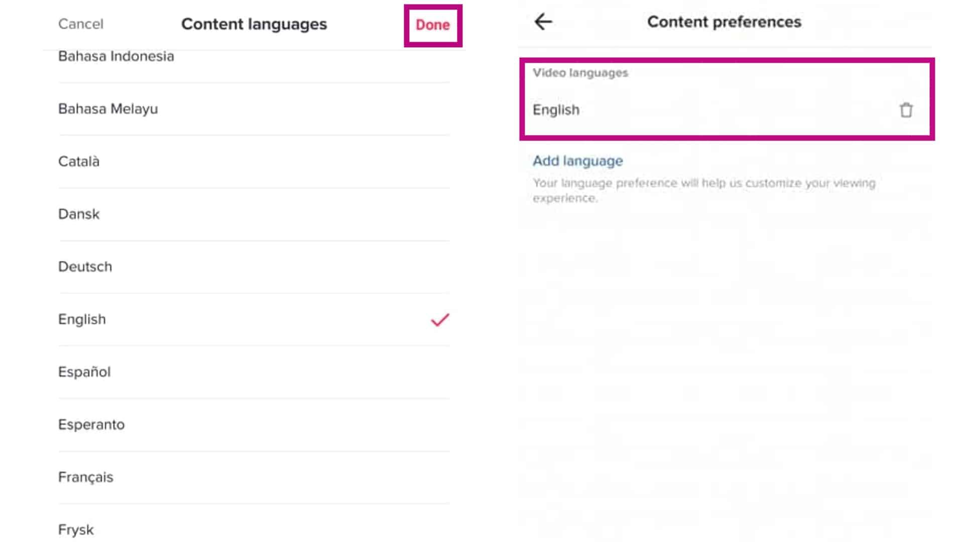 tiktok video language selected