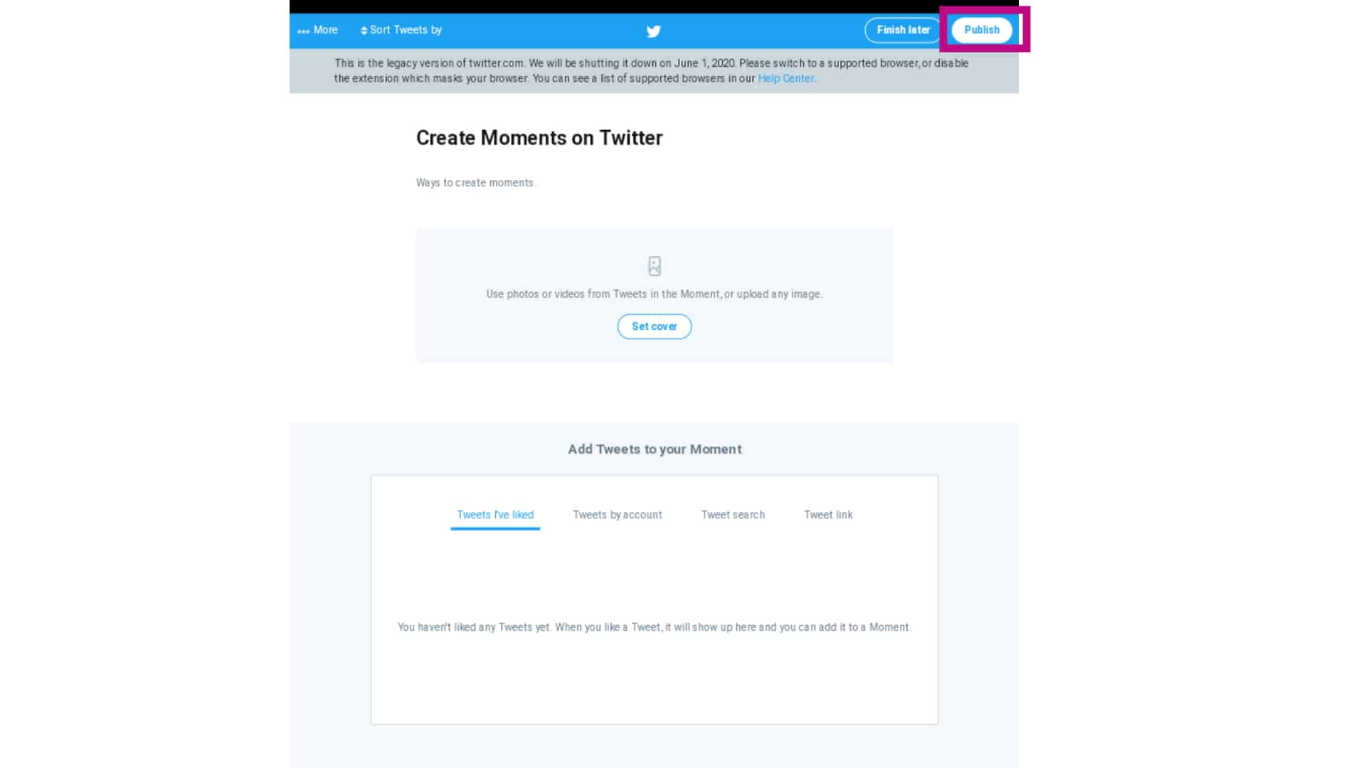twitter moments publish